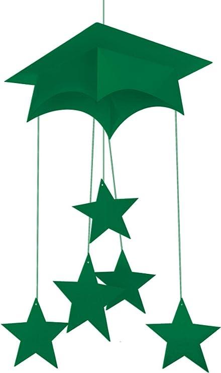 2687ec54a26c7 Club 12 unidades verde esmeralda de tabla de mortero graduación Cap sombrero  y estrellas para colgar