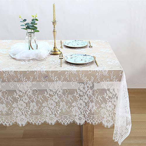 QueenDream White Lace Tablecloth Kitchen Tablecloths for Rectangle Tables Size 60