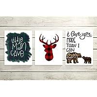 Set of 3 Woodland Animal Nursery Cardstock Prints - 8x10 Little Man Cave, Buffalo Plaid Deer Silhouette, I Love You More Than I Can Bear