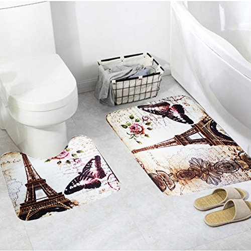 Smartcoco Paris Eiffel Tower Flannel 2pcs/set Bath Pedestal Rug Cover Bathroom Bath Mat Kit Household Bathroom Carpets Design Decor Houseware