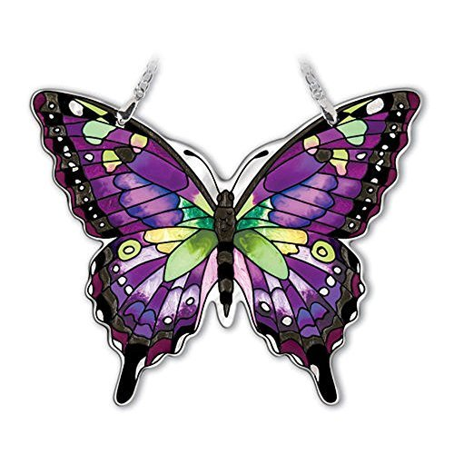 Amia Studios Purple Swallowtail Sun Catcher Amia Water Cut Glass 5 Inch by 6 Inch ()