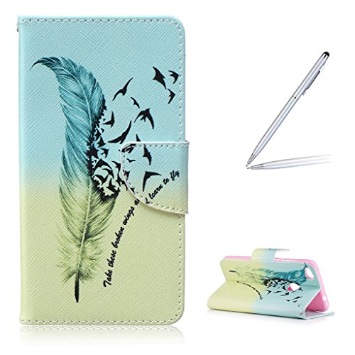 Trumpshop Smartphone Carcasa Funda Protección para Huawei Honor 8 Lite + Flor de ciruelo + PU Cuero Caja Protector Billetera con Cierre magnético [No compatible con Honor 8] Aprender a volar