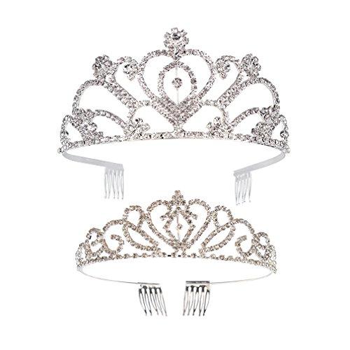 Ondder 2 Pack Wedding Bridal Crown Rhinestone Crystal Decor Headband Veil Tiara for Women, Silver