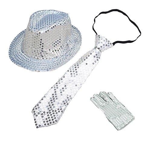 CHUANGLI Kids Sequins Fedora Hat Jazz Hat & Glitter Gloves & Necktie Dance Cap Solid Jazz Hat Party Glitter Costum