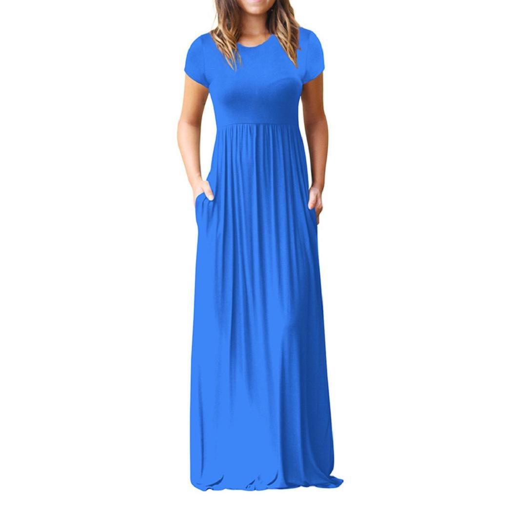 ShenPr Women Short Sleeve Loose Plain Maxi Dresses Casual Long Dresses With Pockets (L, Blue) by ShenPourtor_Women Dress