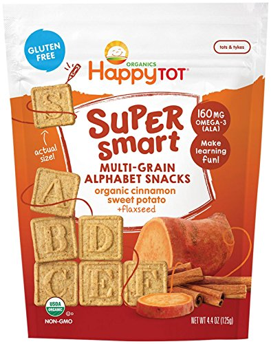 Happy Family Tot Super Smart Multi-Grain Alphabet Snacks Cinnamon Sweet Potato, 4.4 Ounce