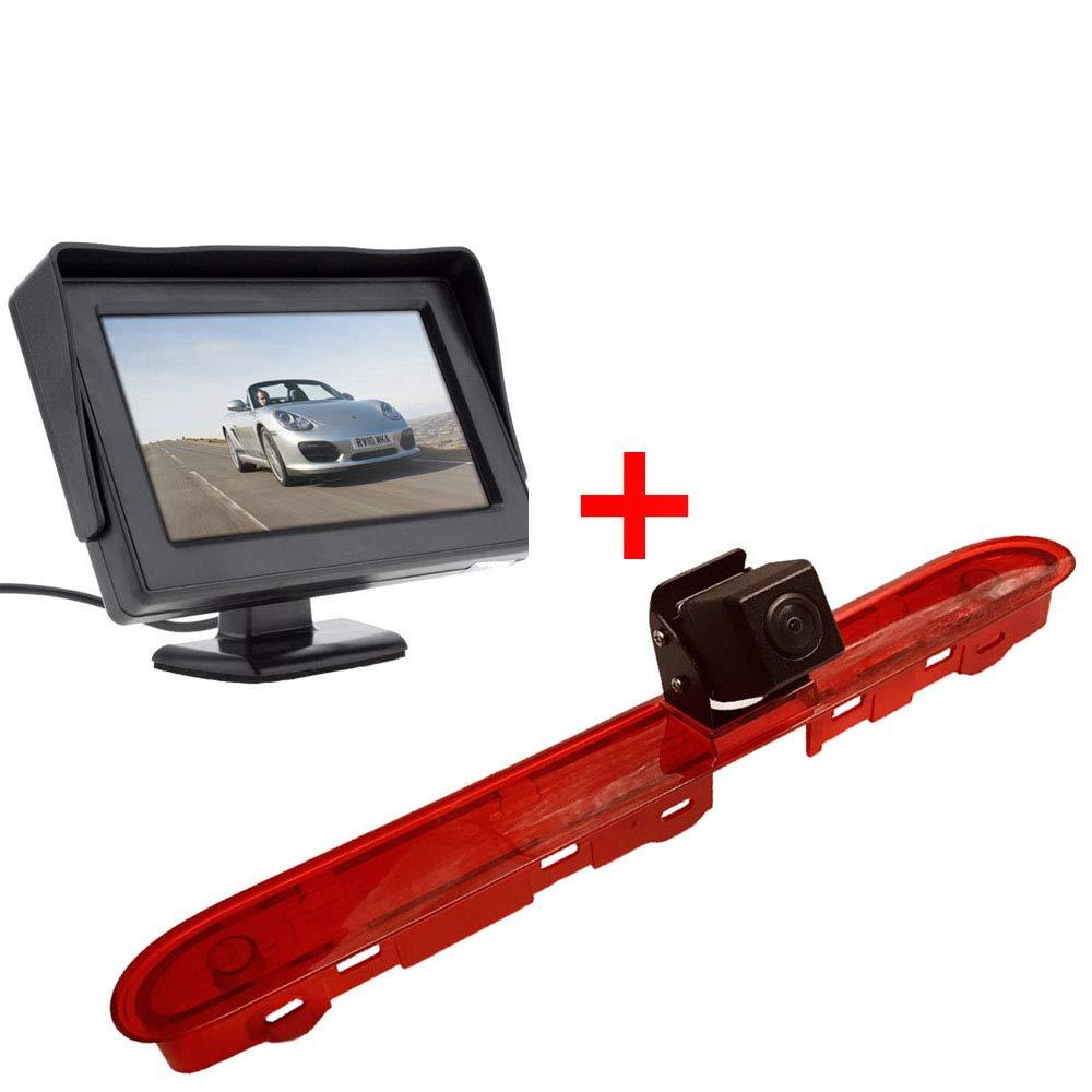 7 Pouces HD Moniteur Auto Troisi/ème Toit Top Mount Feu Stop lumi/ère de Frein Cam/éra de recul pour Transporter Citroen Dispatch//Toyota Proace//Peugeot Expert Traveller
