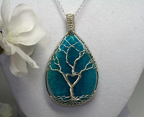 Ethereal Earth Stone Necklace Sterling Silver Wire wrapped Tree of Life Aqua Agate Natural Gemstone Jewelry with Heart Pendant, Valentines Day Gift, High Quality Materials, Girlfriend ()