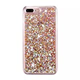iPhone 7 Plus Glitter Case, NOKEA hard Rubber Flowing Liquid Floating Luxury Bling Glitter Sparkle Flexible Protective Shell Bumper Case Cover for iPhone 7 Plus 5.5inch (Rose Gold#6)