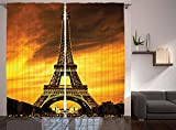 Cheap Ambesonne Eiffel Tower Decor Curtain, Paris Love Valentine's Love City Monument In Dramatic Sunrise, Window Drapes 2 Panel Set for Living Room Bedroom, 108 X 90 Inches, Gold Yellow Orange and Brown