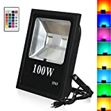 T-SUN RGB Flood Light, 100W RGB Color Changing Waterproof Security Lights, with US Plug, Super Bright Remote Control Outdoor Spotlight, for Garden, Yard, Warehouse Sidewalk,Backyard, Garage