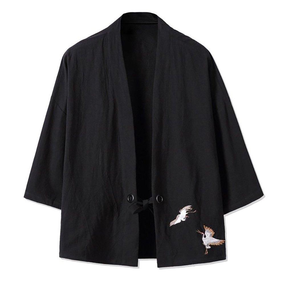 YOUMU Men Japanese Kimono Cardigan Cranes Embroidery Jacket Vintage Loose Japanese Yukata Coat Top Plus Size by YOUMU