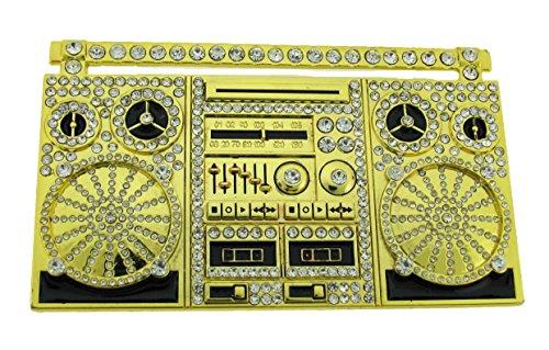 Belt Gold Bling Buckle (Turntable Ghetto Blaster Shoulder 80's Boom Box New Men's Women's Belts Buckle. (Turntable Dual Gold Bling Size: 4.00
