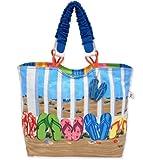 Sun N' Sand Coastal Flipflop Tote Handbag (Multi)