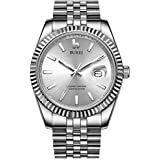 BUREI Men Automatic Watch Analog Dial with Date Window Sapphire Crystal Stainless Steel Band and Case