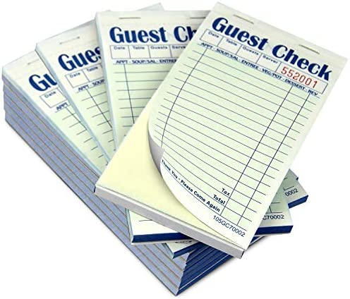 [10 Pads, 50 Sheets/Pad] Double Part Guest Check Pads for Restaurants, Perforated 2 Part Green and White Carbonless Check Book for Bars, Cafes and Restaurant Orders