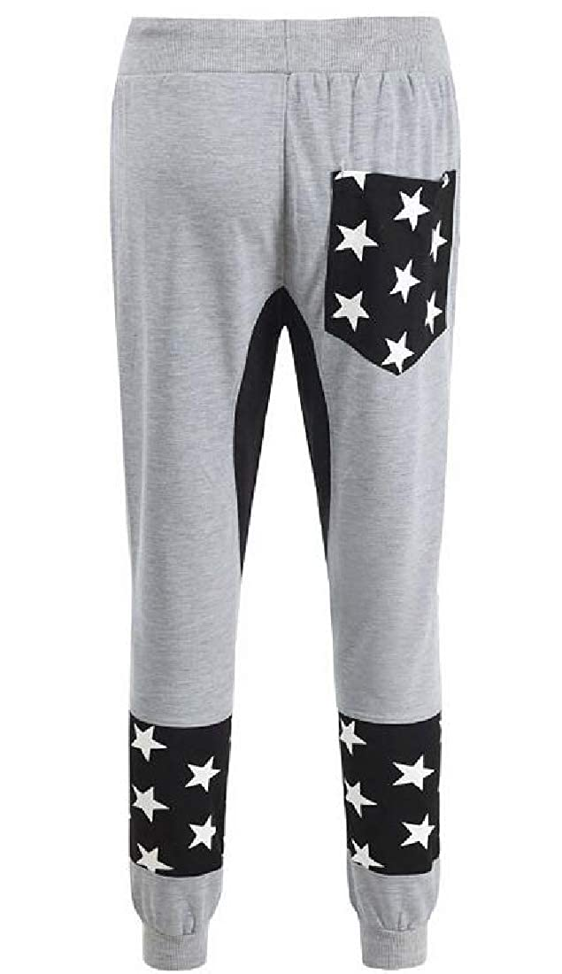OTW Men Elastic Waist Casual Stars Print Jogger Drawstring Long Pants