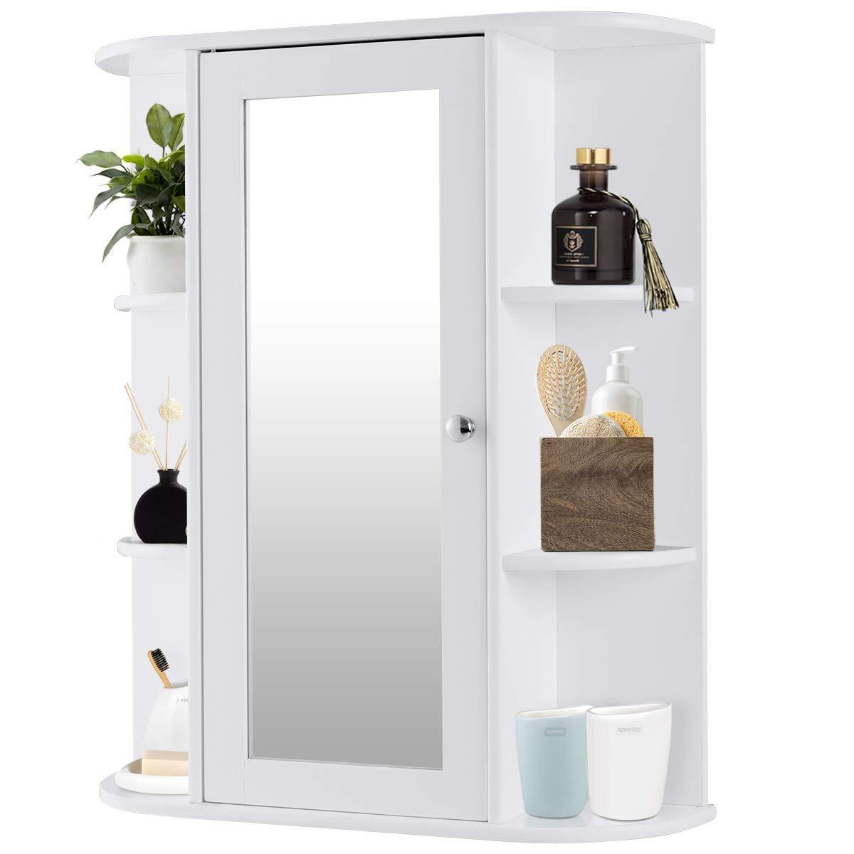 Tangkula Bathroom Cabinet Single Door Wall Mount with Mirror Organizer Storage Cabinet(2 Tier Inner Shelves)