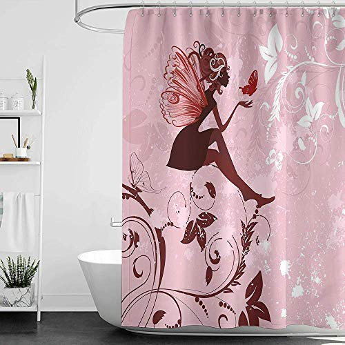 homecoco Shower Curtains Black and White for Bathroom Fantasy,Fairy Pixie Girl Madam Butterfly with Curved Flower Cute Girls Surreal Print,Pale Pink Maroon W72 x L72,Shower Curtain for Men (Gold Solid Madam)