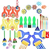 Kids Art Craft 30 Pcs Sponge Painting Brushes Kids Painting Early DIY Learning Sponge Roller Brushes,Art Craftssponge brush by OBANGONG