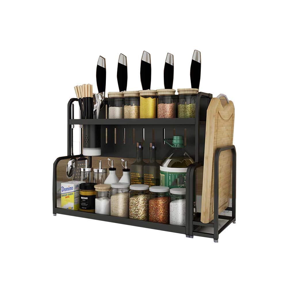2-Layer Seasoning Rack Kitchen Counter Storage Rack for Condiment Storage 50 22 41 cm