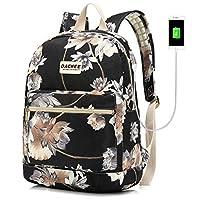 Laptop Backpack with USB Charging Port Waterproof School Bookbag Travel Backpack for 15.6 Inch (Lotus)