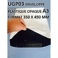 Lot de 50 Enveloppes plastique blanches opaques A3 350 x 450 mm,pochettes d'expédition 35x45 cm 60 microns. Enveloppe fine 22g, légère, solide, inviolable et imperméable.
