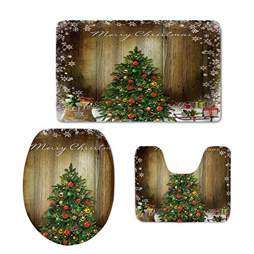 chaqlin Christmas Tree Bath Mat Bath Rug Set 3 Piece Comfortable, Soft Plush, Maximum Absorbent, Machine Wash, Non-Slip, Thick, Easier to Dry for Bathroom Floor Rug Shower Rug