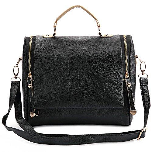 TrendsGal Women's Handbag Cross Body Shoulder Bag Messenger Bag(Black)