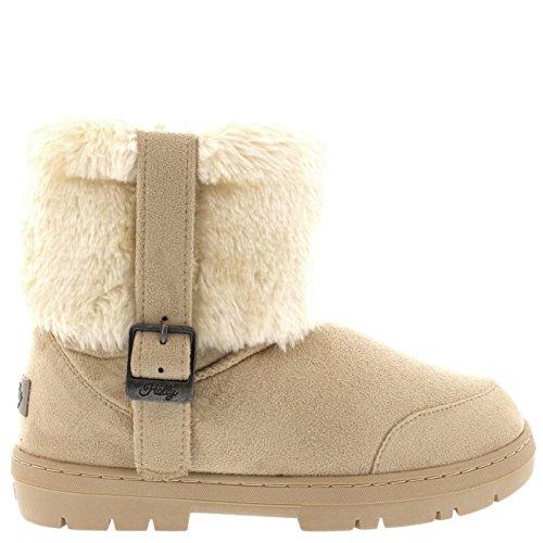 Womens Side Buckle Knöchel Pull auf flachen Winter Schuh Stiefel Beige