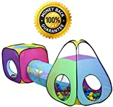 3pc Children Play Tent and Tunnel Toy, Outdoor & Indoor Play Tent Tunnel, Playhouse Kids Pop up Tent with Tunnels, Boys and Girls Tent for Kids Tent and Tunnels, by Hide-n-Side