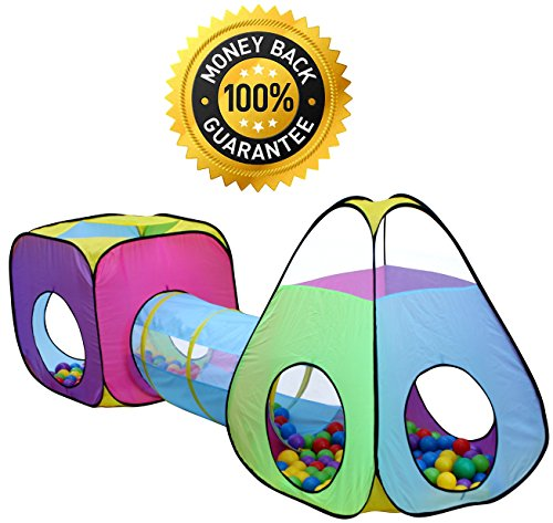3pc Children Play Tent and Tunnel Toy, Outdoor & Indoor Play Tent Tunnel, Playhouse Kids Pop up Tent with Tunnels, Boys and Girls Tent for Kids Tent and Tunnels, by Hide-n-Side (Toddler Girls Play Tent)