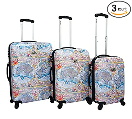 Amazon world map print travel luggage 3 piece set all over world map print travel luggage 3 piece set all over multi graphic pattern gumiabroncs Image collections
