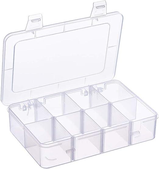 BENECREAT 2 Pack 8 Compartimientos Caja Organizadora de Joyas con Separadores, Contenedor para Guardar Cuentas, de Plástico Transparente y Ajustable 18.1x12x4.2cm: Amazon.es: Hogar