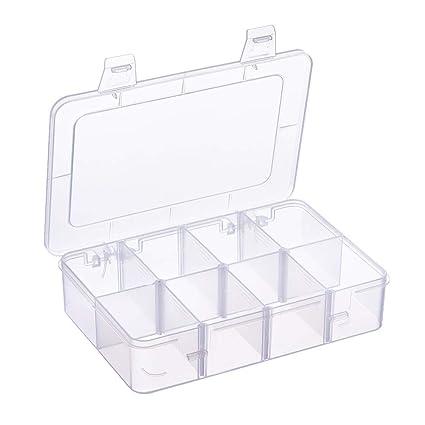 BENECREAT 2 Pack 8 Compartimientos Caja Organizadora de Joyas con Separadores, Contenedor para Guardar Cuentas