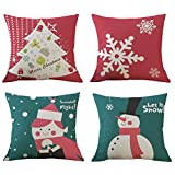 Cute Red & Green Merry Christmas Gifts Cotton Linen Throw Pillow Covers Cushion Cases Home Office Living Room Sofa Car Decorative Square 18 X 18 Inches