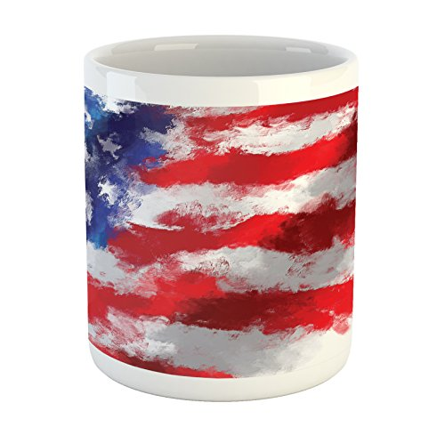 Lunarable American Flag Mug, Oil Painting Murky Brush Stroke Watercolor Banner Citizen Anthem Picture Print, Printed Ceramic Coffee Mug Water Tea Drinks Cup, Red Blue (Red Cup Coffee House)