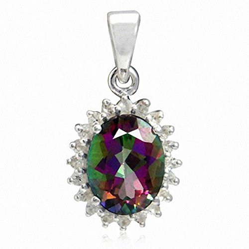 2.19ct. Mystic Fire Topaz 925 Sterling Silver Flower Cluster Pendant