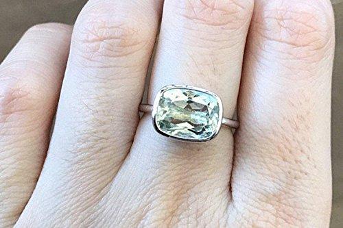 - Genuine Green Amethyst Rectangular Ring Size 8