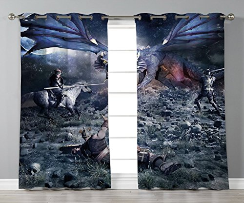 Satin Grommet Window Curtains,Fantasy,Dragon Fighting with Medieval Knights War Scene in Gothic Fiction,Dark Blue Grey Purplegrey,2 Panel Set Window Drapes,for Living Room Bedroom Kitchen Cafe by iPrint