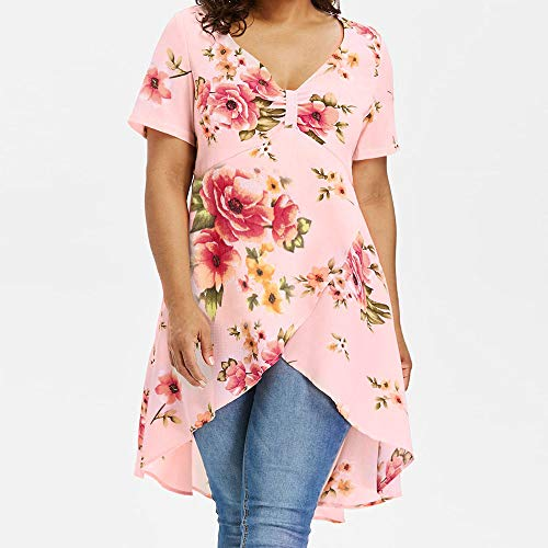 TnaIolral HOT! Women T-Shirt Floral Printing Long Short Sleeve Tops Blouse Pink by TnaIolral (Image #2)