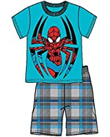 Marvel Spider-Man Infant Boys T Shirt Top and Plaid Short- Blue