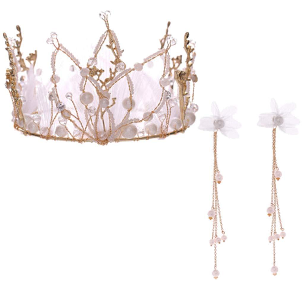 Agelloc Elegant Crown Full of Zircon Pearl Pendant Earring Flower Headband Headdress Ladies Jewelry by Agelloc
