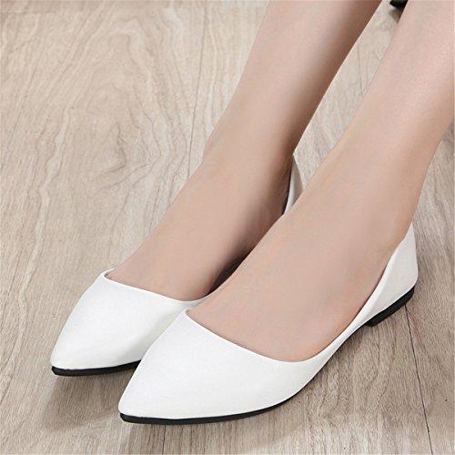 Kvinnor Mode Klassiska Avslappnade Spetsig Tå Balett Komfort Mjukt Slip På Lägenheter Skor S-2