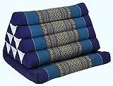 Thai triangle cushion with 1 folding seat, blue, relaxation, beach, pool, meditation, yoga, (82201)