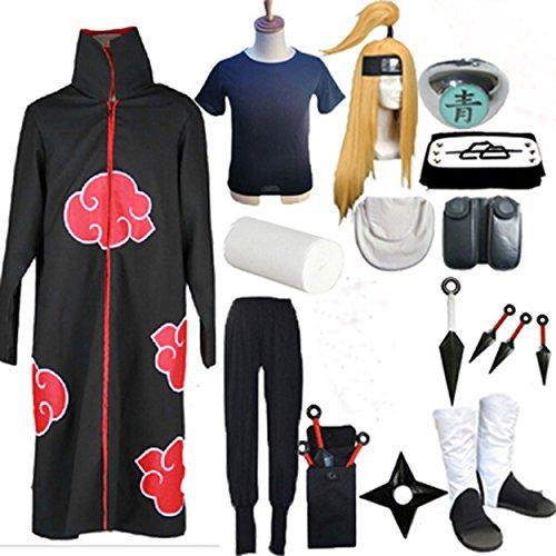 [Relaxcos Naruto Deidara Mask Shoes Weapons Sets Halloween Size XL] (Naruto Deidara Cosplay Costume)
