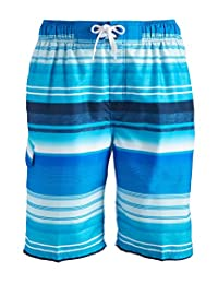 Kanu Surf Mens Standard Victor Stripe Quick Dry Beach Board Shorts Swim Trunk