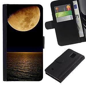 A-type (Blood Moon noche del océano Mar Naturaleza) Colorida Impresión Funda Cuero Monedero Caja Bolsa Cubierta Caja Piel Card Slots Para Samsung Galaxy Note 4 IV
