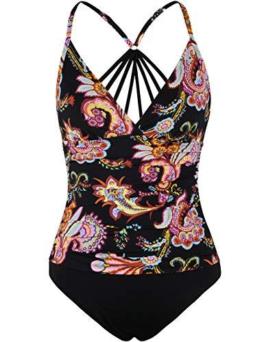 Firpearl Women's One Piece Swimsuit Strappy Back Tummy Control Swimwear Modest Bathing Suit US 14 Orange Floral ()