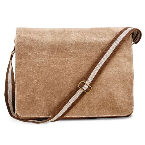 Neue Quadra Vintage Washed Canvas Despatch Bag, Schultertasche, in Messing-Antik-Optik Sahara